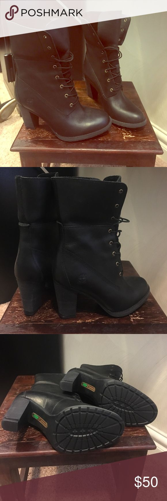 Black women boots Black ankle timberland boots . Never been worn Timberlake Shoes Ankle Boots & Booties