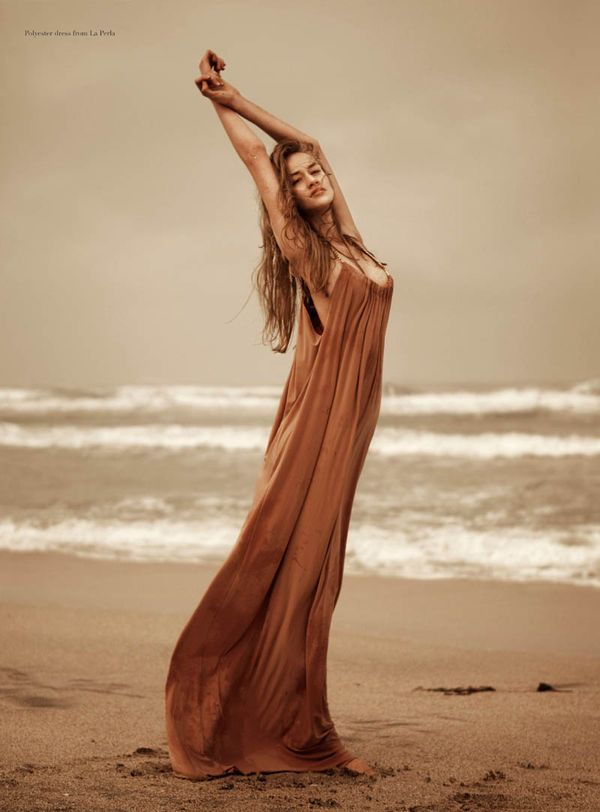 Beautiful copper coloured dress from La Perla I believe. Ethereal dreamy feel to it. At the beach. Sand tones. Found on Fashion Gone Rogue 'Into the Trees'.