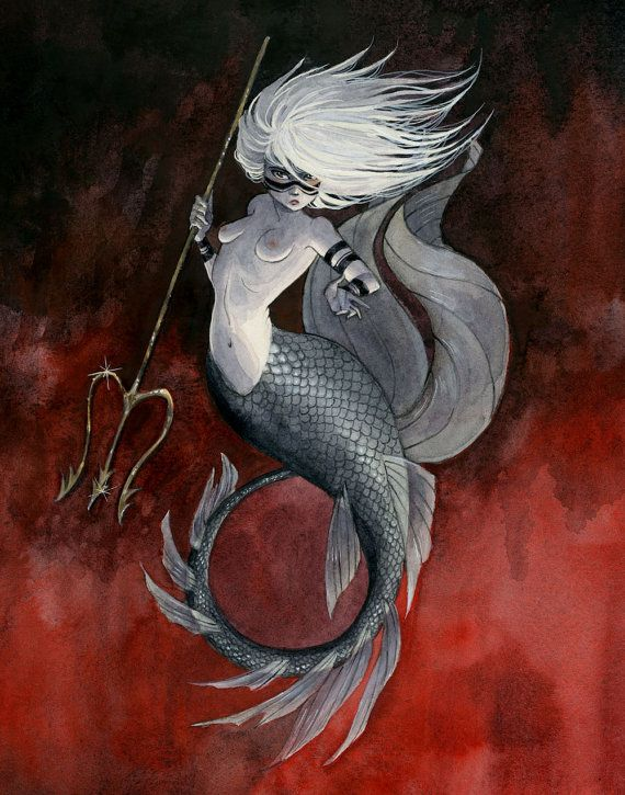 Huntress Mermaid  8x10 print by reneenault on Etsy, $12.00