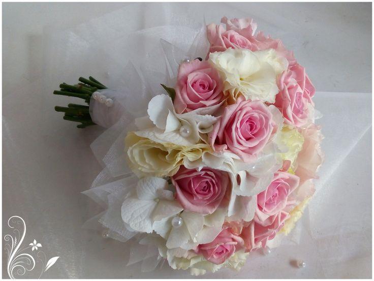 Wedding bouquet - rose, hydrangea, eustoma