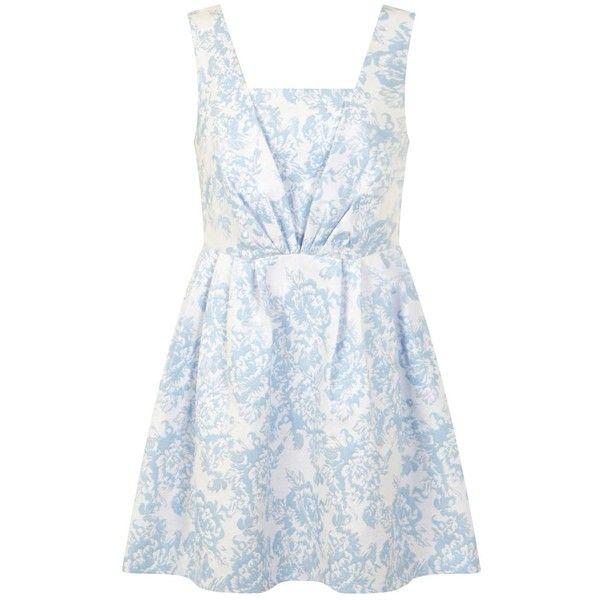 Miss Selfridge Petites Jacquard Prom Dress ($26) ❤ liked on Polyvore featuring dresses, blue, petite, prom dresses, floral printed dress, floral print prom dresses, blue dress and petite prom dresses