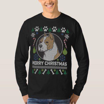 American Stafford Dog Breed Ugly Christmas Sweater - holidays diy custom design cyo holiday family
