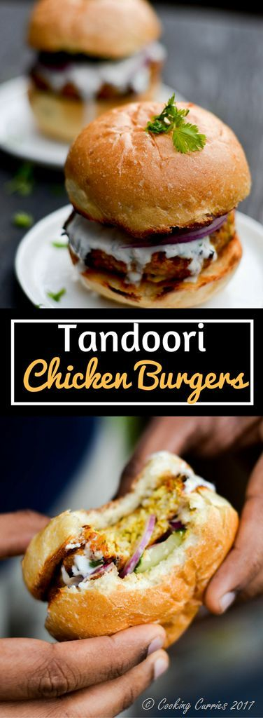 Chicken burgers loaded with tandoori spice, smothered with a cooling yogurt sauce and some crisp onions, cucumbers and tomatoes for some crunch and flavor, this will be you go-to burger for grill time, for everyday dinner and parties alike!