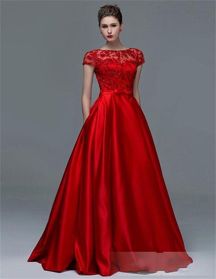 Resultado de imagen para vestido rojo largo de noche