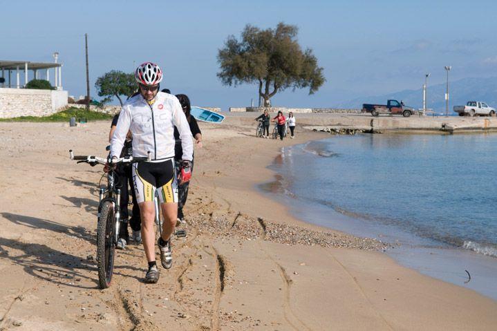 biking by the sea at Paros island, Cyclades Greece