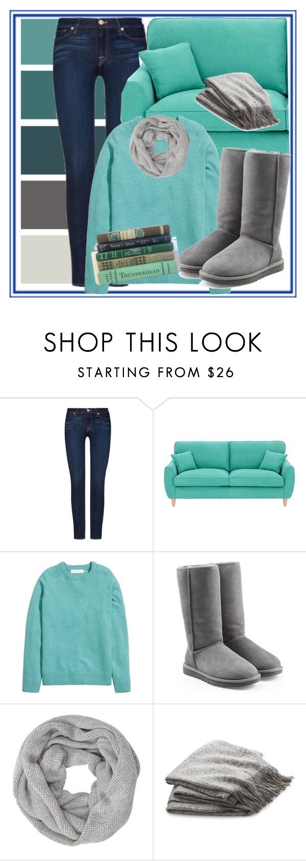 """""""Give Me A Good Book"""" by creativejenerator ❤ liked on Polyvore featuring 7 For All Mankind, Fearne Cotton, UGG, John Lewis and Crate and Barrel"""