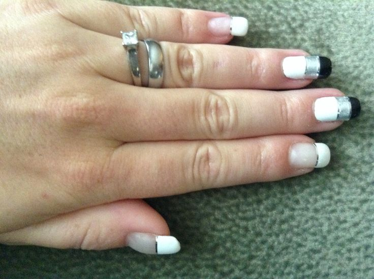 Black, White, and Grey with silver striping tape.