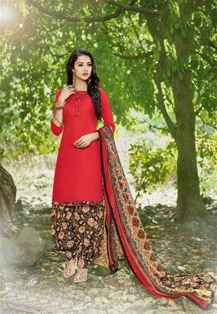 Red Cotton Printed Patiala Salwar Suit #punjabisalwarKameez #patialasuit #nikvik #sale # dress #designer #usa #australia #canada #suits