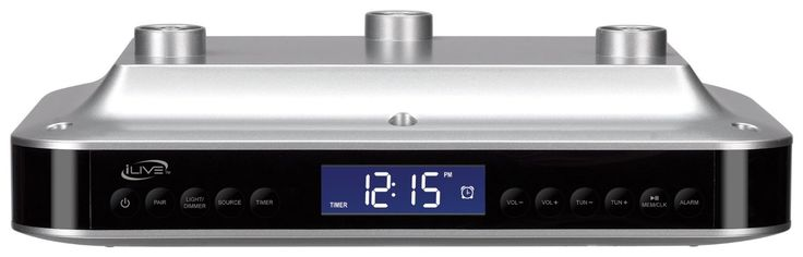 Ilive Electronic Under-cabinet Bluetooth Digital Radio. Bluetooth technology connects to your mobile device without cables and streams music from your device to the clock radio for unrivaled control of your listening experience. Digital FM radio (PLL) with station presets. Digital clock with alarm. LED light to illuminate under-cabinet area. The IKB333S features a kitchen timer, handy kitchen light and simple mounting kit. Built-in speakers. Battery backup requires 2 AAA batteries…