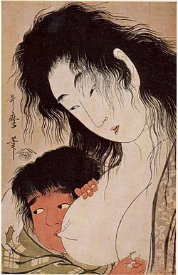 Utamaro_Yama-uba_and_Kintaro_(with_a_Wine_Cup)