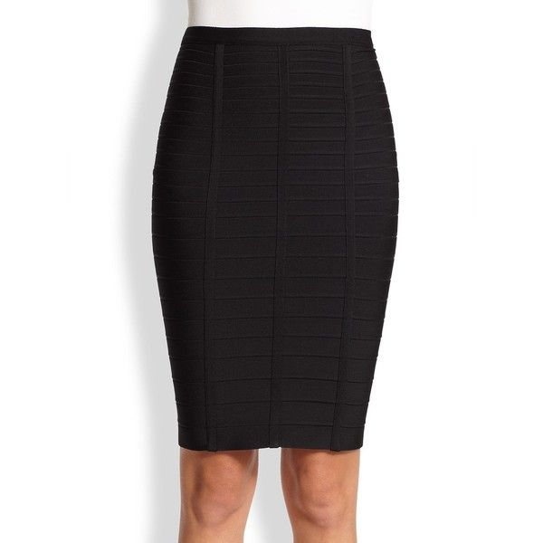 Herve Leger Sia Bandage Pencil Skirt ($690) ❤ liked on Polyvore featuring skirts, apparel & accessories, black, knee length pencil skirt, long pencil skirt, hervé léger, bandage skirts and herve leger skirt