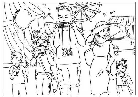 Family On Vacation Coloring Page Summer Coloring Pages
