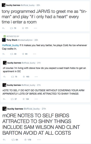 Bucky Barnes twitter account -- the last comment, that was hilarious.