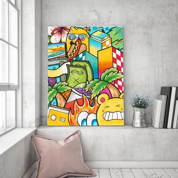 Modern Wall Art Pop Art Canvas Print Street Art Summer Wall Etsy In 2020 Pop Art Canvas Graffiti Wall Art Summer Wall Art