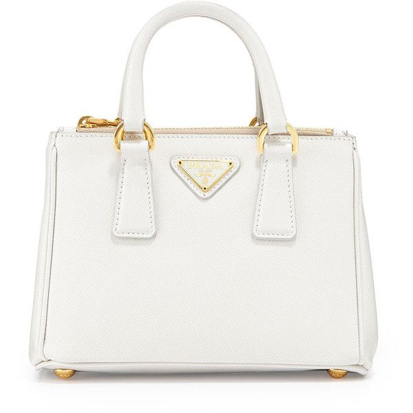 Prada Saffiano Mini Galleria Crossbody Bag ($1,060) ❤ liked on Polyvore featuring bags, handbags, shoulder bags, purses, white, mini crossbody, crossbody purse, white cross body purse, prada shoulder bag and shoulder strap bag