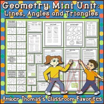 Geometry unit including lines, angles, triangles. $