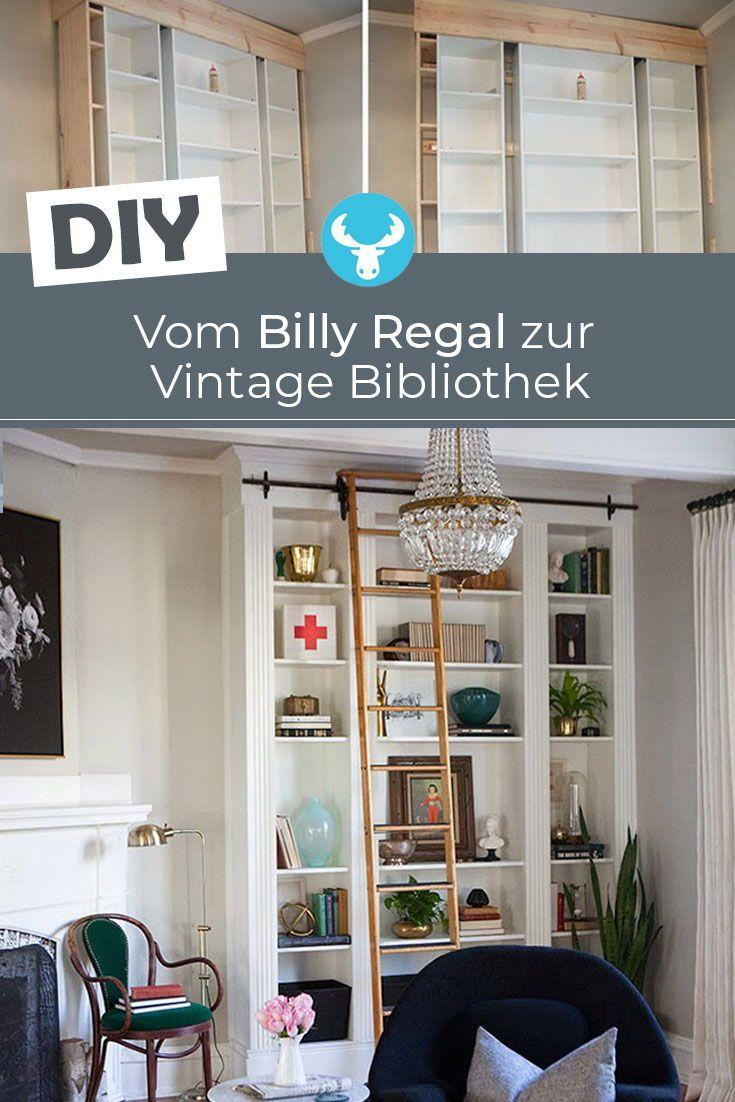 So Verwandelst Du Einfache Billy Regale In Eine Stilvolle Vintage Bibliothek Billy Regal Ikea Bucherregal Hack Billy Regal Ikea