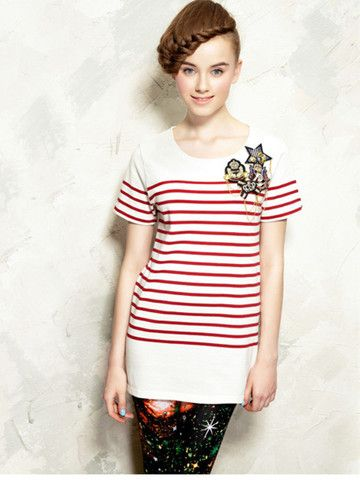 red stripes military style tunic $51 #asianicandy #chicstyle #indiefashion #elfsack