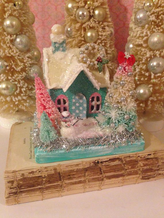 Vintage Inspired Putz House with Hand Dyed Bottle Brush Trees