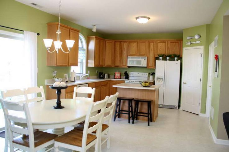 Matching Kitchen Paint Colors With Oak Cabinets Green