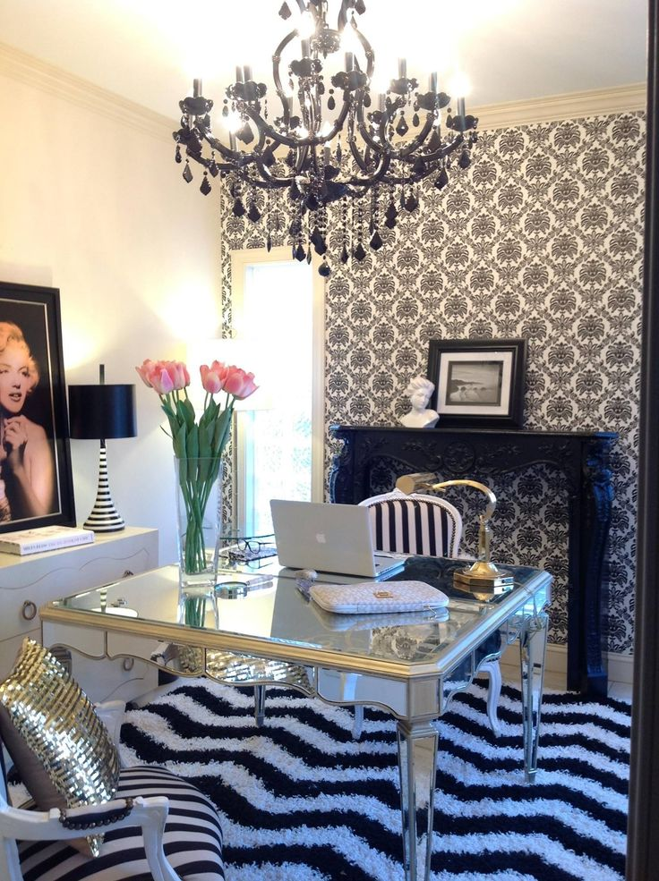 Molly Kate S Arteriors Home Office With Faux Fireplace