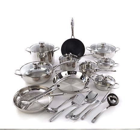 Wolfgang Puck Bistro Elite 25-piece Stainless Steel Cookware Set with Tools - 8206166 | HSN