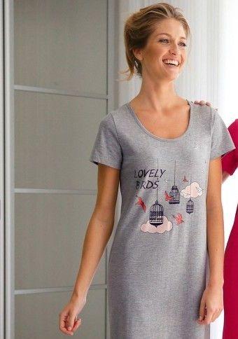 Dlhá nočná košeľa so stredovou potlačou vtáčikov #Modinosk #dayoff #sleep