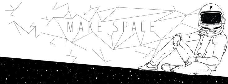 Make Space - by Jürgen Freese  #Space #Stars #spacehelmet #geometric #Black & white #makespace
