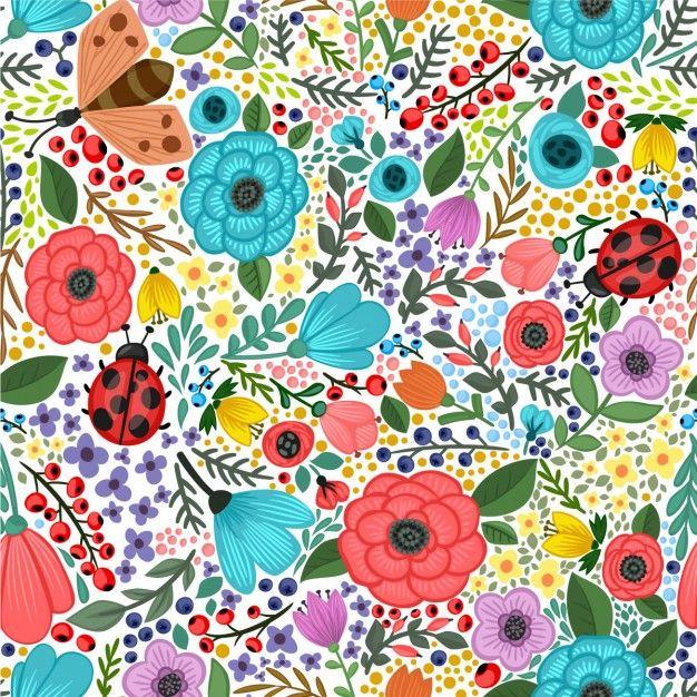 Vector padrão sem emenda com plantas de verão e flores coloridas Vetor grátis