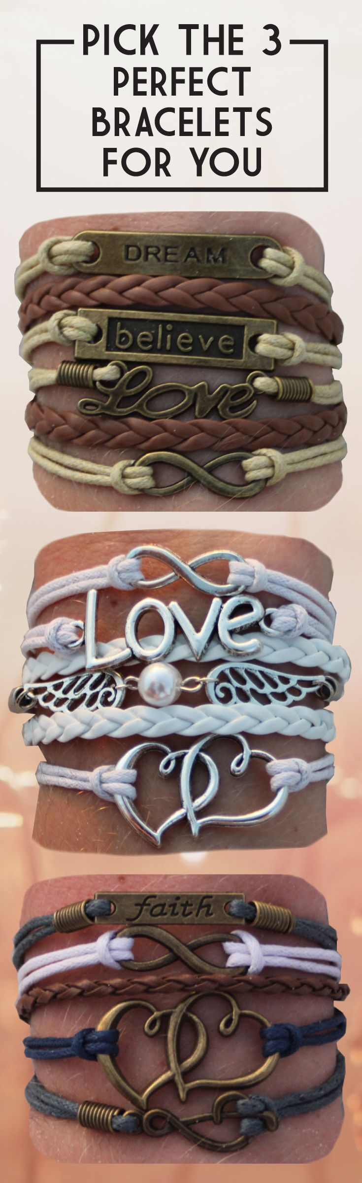 Choose your favorite 3 bracelets for FREE - just pay shipping! Over 100 designs and adding more monthly. Free bracelet deal ends 12/31/17. Coupon: 3forfree --> http://www.gomodestly.com/pinterest-sale-3-for-free/