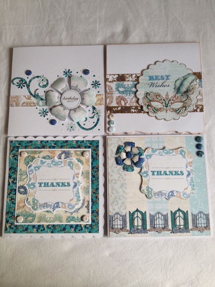 4 cards made with craftwork cards 'Venetian collection.