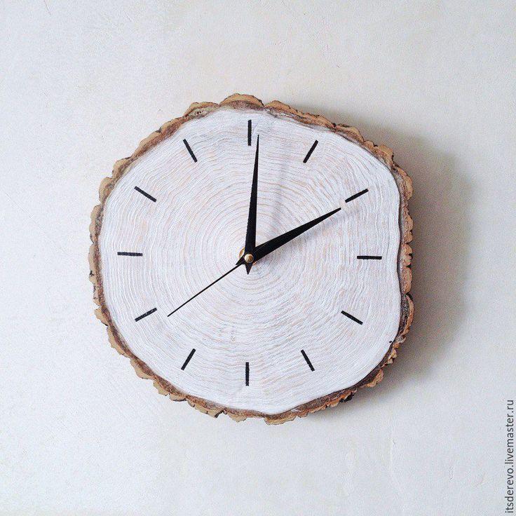 Купить Часы из спила белые - белый, часы, спил, дерево, эко, для дома и интерьера, спил