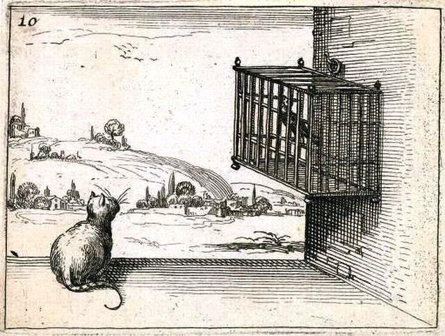 Jacques Callot, art prints - Cat and the Caged Bird