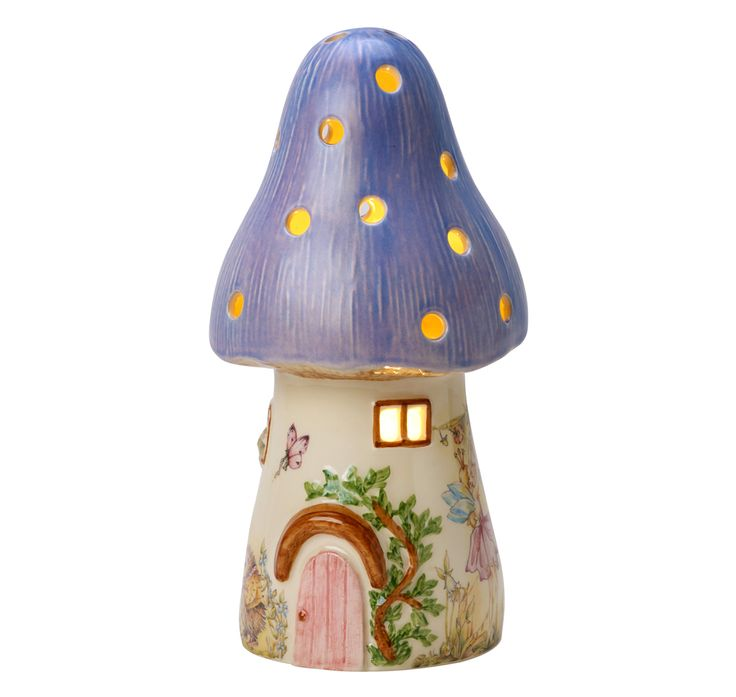 An all time favourite in childrens lighting. Our beautiful and traditional British made fairy toadstool childrens lamp, hand decorated made from ceramic and decorated with fairys and woodland scenes. Our unique and exclusive bedside lamp is designed and created by us here at White Rabbit England. This mushroom nightlight is based on a traditional style night light from the 1970's, evoking nostalgic memories from times gone by. This mushroom night-light is made from ceramic and hand painte...