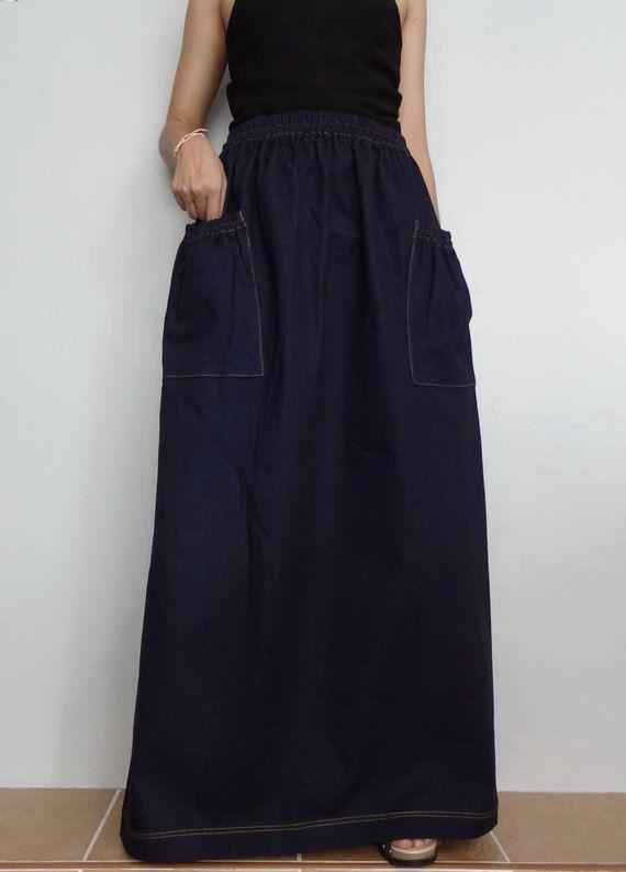 Women Jeans Long SkirtComfortable Unique Cotton Denim Medium Weight Dark Blue Skirt