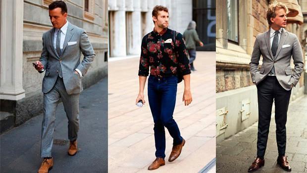 Мужская мода коричневые ботинки и джинсы