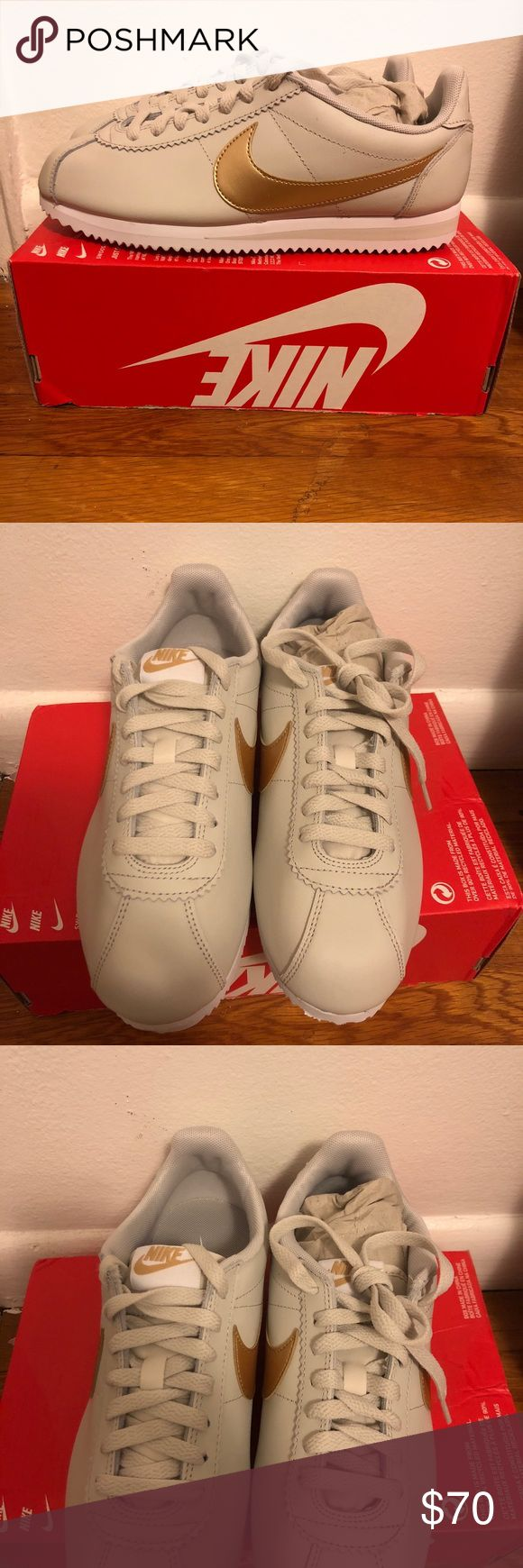 LOWEST Womens nike classic cortez leather size 8.5 New. Never worn. Size 8.5 . Box with no box top. Color is LIGHT BLUE/METALLIC GOLD WHITE Nike Shoes Sneakers