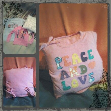 Homemade upcycled an old favorite t-shirt of my sisters into a cute cusion cover. Easy and fun!