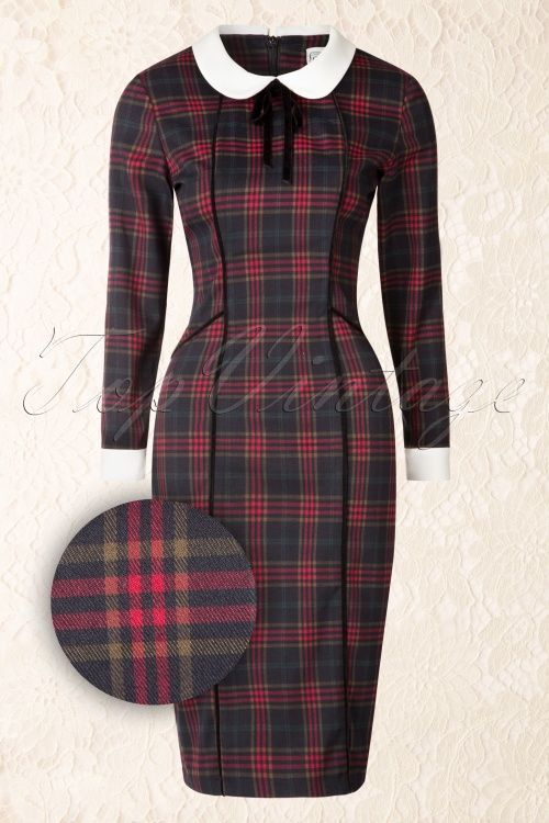 Collectif Clothing Lisa Hanna Checked Pencil Dress 16103 20150624 0006W1