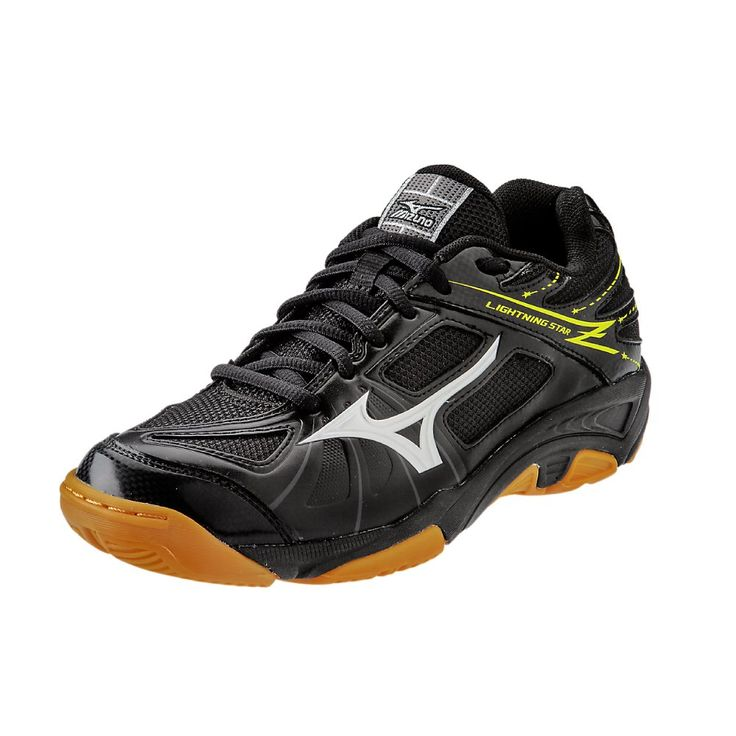 Mizuno Lightning Star Z JNR BK-SL Volleyball Shoe (Little Kid/Big Kid), Black/Silver, 2 D US Little Kid. Breathable air mesh upper. Non-marking outsole. Dynamotion groove.