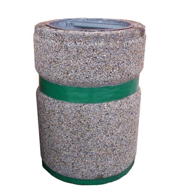 kosze betonowe, kosze na śmieci, kosze na smieci, mała architektura miejska, Kosz okrągły 26 litrów z pasem malowanym.
