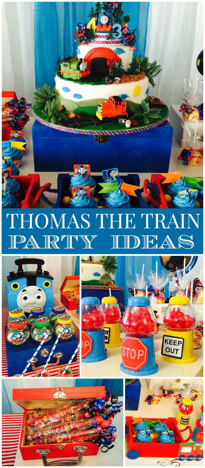Check out this Thomas the Train party!  It has gumball machine favors and candy pretzels! See more party planning ideas at CatchMyParty.com!