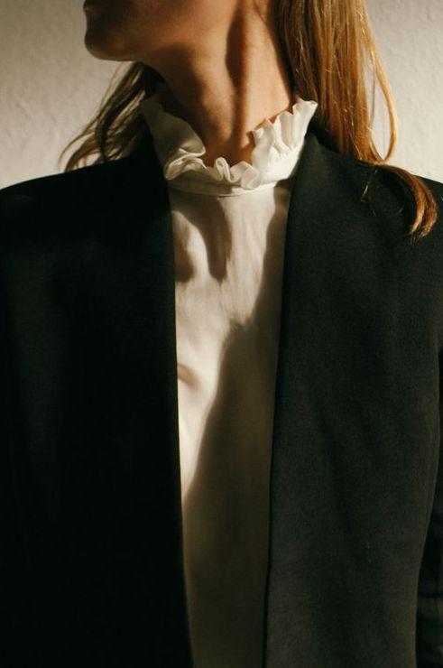 Black collarless blazer & ruffle collar blouse | @styleminimalism