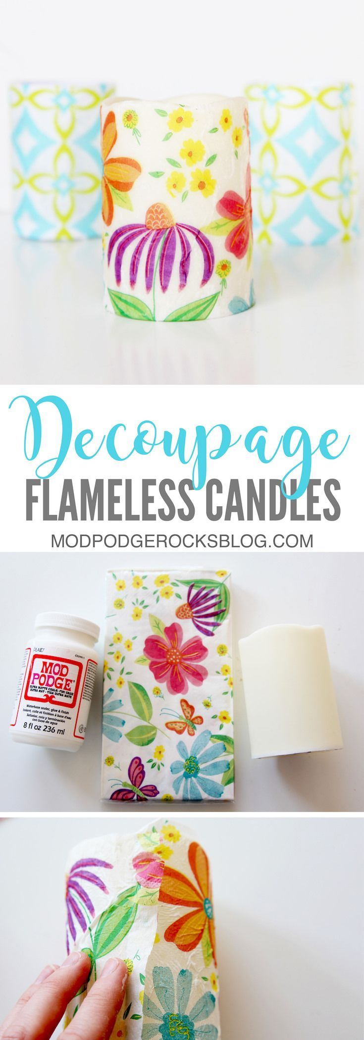 Make these easy decoupage candles with just a few materials from the dollar store, including Mod Podge and napkins. They can be customized for any occasion. via @modpodgerocks