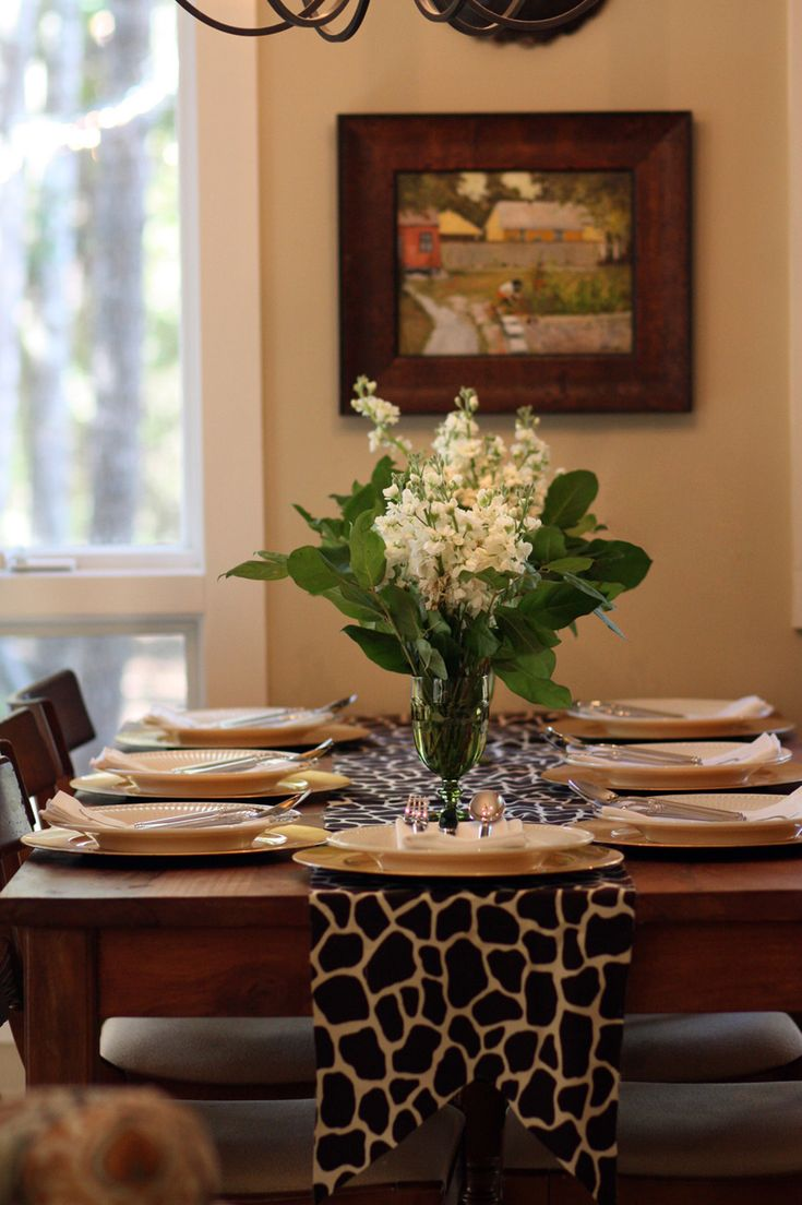 I am digging this giraffe print table runner!