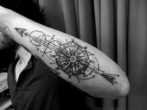 Ship Wheel Simple Line Tattoo For Men