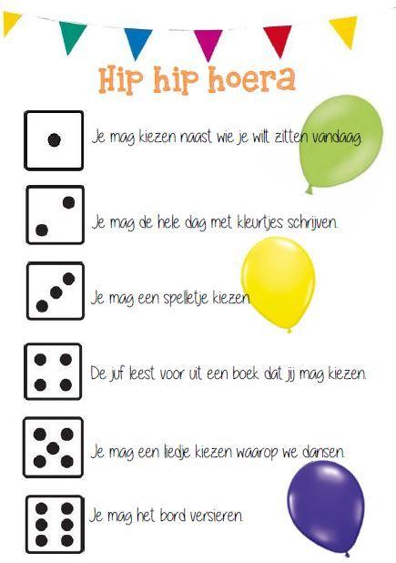 Verjaardagen op school: wie jarig is, mag me de dobbelsteen gooien. © Sarah Verhoeven