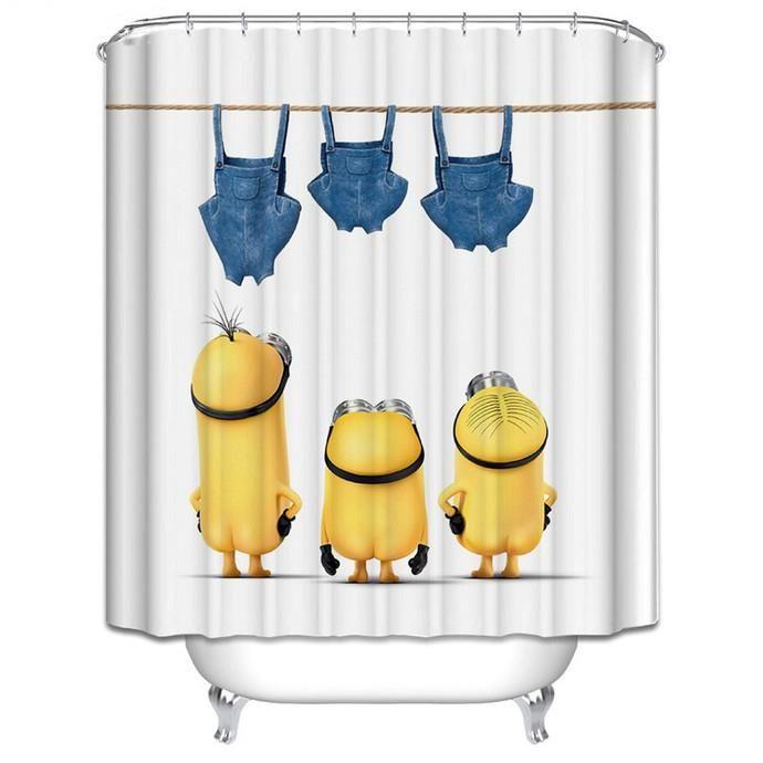 Cute Minion Shower Curtain Kids Minion Bathroom Set Bathroom