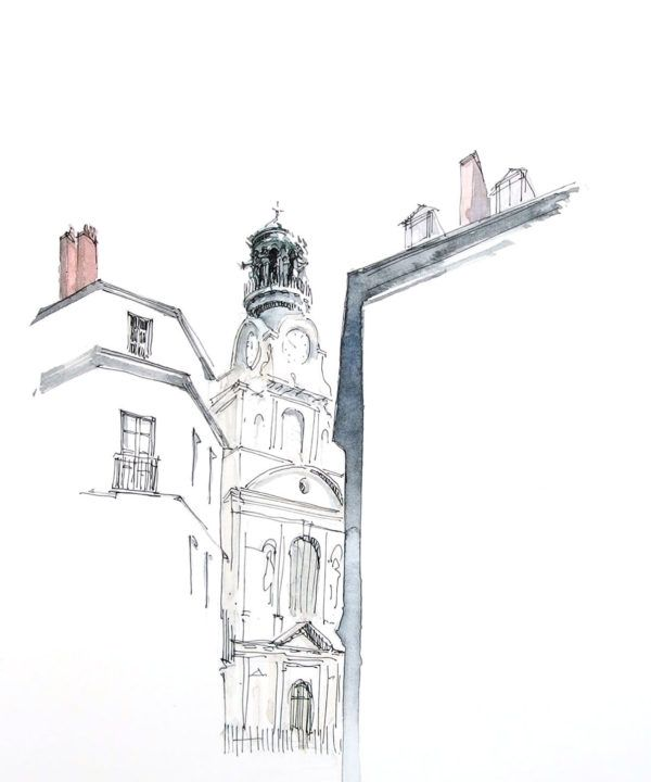 Eglise Church Nantes Illustration Drawing Draw Sketch