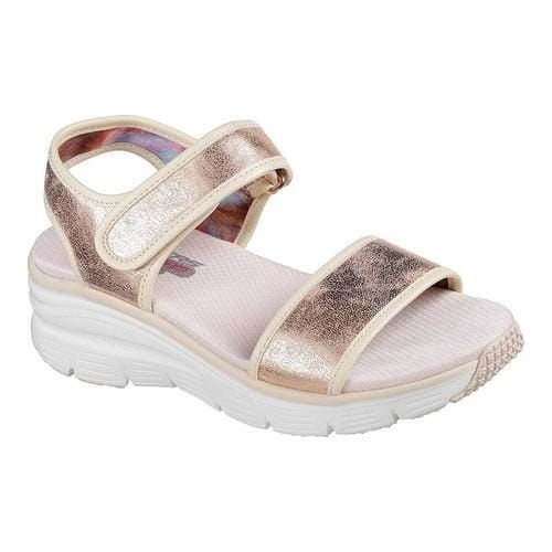 Women's Skechers Wedge Appeal Brush Off Ankle Strap Sandal Rose